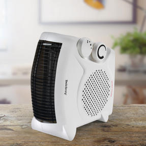Beldray® EH3027STK Upright/Flatbed Portable Fan Heater with Cool Air Function   2 Heat Settings   1000/2000 W   Adjustable Thermostat   Safety Cut Out   White Thumbnail 2
