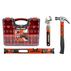 Black+Decker COMBO-3420 DIY Essentials Kit with 60 cm Spirit Level, Claw Hammer, Adjustable Wrench and Organiser Box