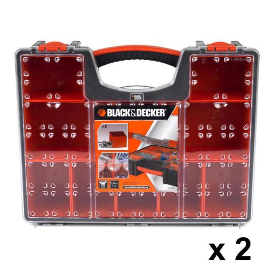Black + Decker COMBO-3940 Set of 2 Eight Compartment Pro Organisers, 7.2 L, 42.2 cm x 33.5 cm x 10.6 cm