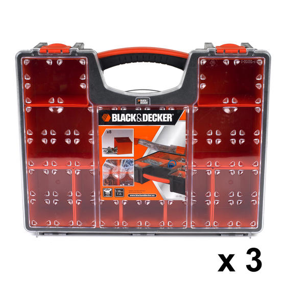 Black + Decker COMBO-3941 Set of 3 Eight Compartment Pro Organisers, 7.2 L, 42.2 cm x 33.5 cm x 10.6 cm