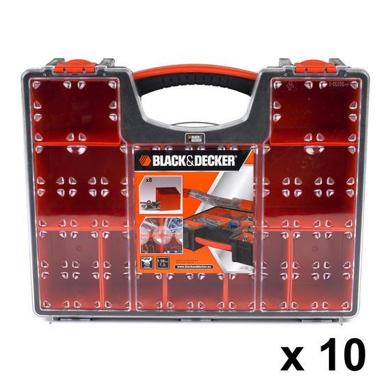 Black + Decker COMBO-3944 Set of 10 Eight Compartment Pro Organisers, 7.2 L, 42.2 cm x 33.5 cm x 10.6 cm