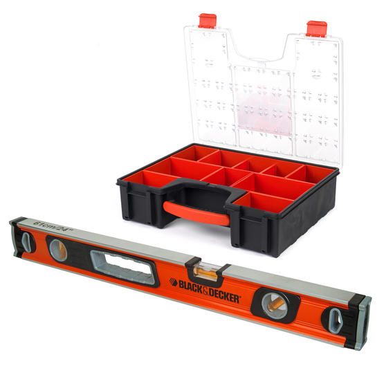 Black + Decker COMBO-3946 60 cm Spirit Level with 7.2 Litre Eight Compartment Pro Organiser