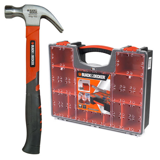 Black + Decker COMBO-3947 Soft Grip Claw Hammer with 7.2 Litre Eight Compartment Pro Organiser