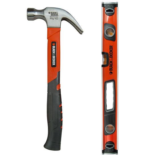 Black + Decker COMBO-3948 Soft Grip Claw Hammer with 60 cm Spirit Level