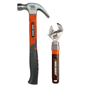 Black + Decker COMBO-3950 250-350 mm Adjustable Wrench with Soft Grip Claw Hammer