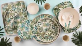 Cambridge CM06204 Reusable Lightweight Dinner Plates, 25 cm, Polynesia Print, Set of 4 | Dishwasher Safe | BPA Free | Alternative to Single Use Plastics Thumbnail 2