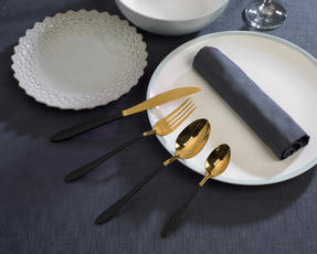 Salter COMBO-3094 32-Piece Black and Gold Cutlery Set, Stainless Steel Thumbnail 2