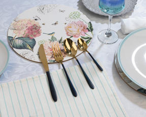 Salter COMBO-3094 32-Piece Black and Gold Cutlery Set, Stainless Steel Thumbnail 4