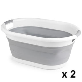 Beldray COMBO-3956 Oval Collapsible Laundry Basket, Set of 2, Grey
