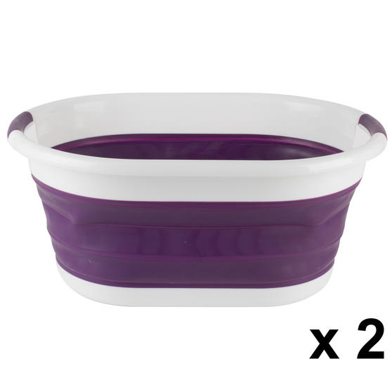 Beldray COMBO-3958 Oval Collapsible Laundry Basket, Set of 2, Purple