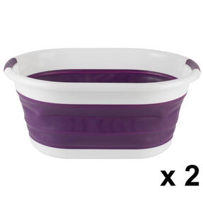 Beldray COMBO-3958 Oval Collapsible Laundry Basket, Set of 2, Purple Thumbnail 1