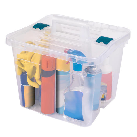 Beldray COMBO-3832 Large DIY, Hobby, Cleaning Caddies with Lid, Set of 3, Clear