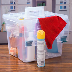 Beldray COMBO-3832 Large DIY, Hobby, Cleaning Caddies with Lid, Set of 3, Clear Thumbnail 2