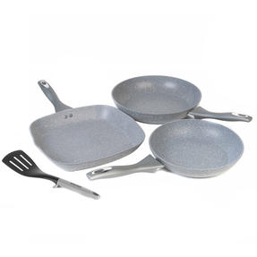 Salter COMBO-3091 Marble Collection Forged Aluminium Frying Pan and Griddle Set with Nylon Slotted Spatula, 24 / 28 cm, Grey