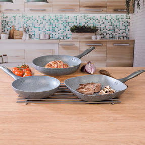 Salter COMBO-3091 Marble Collection Forged Aluminium Frying Pan and Griddle Set with Nylon Slotted Spatula, 24 / 28 cm, Grey Thumbnail 6
