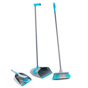 Beldray COMBO-3756 Long Handled Dustpan and Broom with Additional Handheld Dustpan and Brush, 4 Piece Set