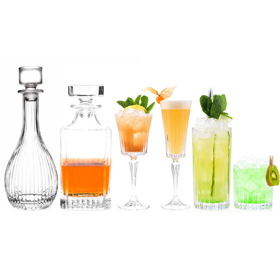 RCR COMBO-3664 Timeless Luxion Crystal Drinkware Collection with Decanters, 26 Piece