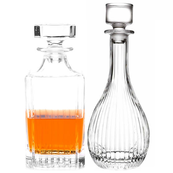 RCR COMBO-3665 Timeless Luxion Crystal Round Wine Decanter and Square Whiskey Decanter Set