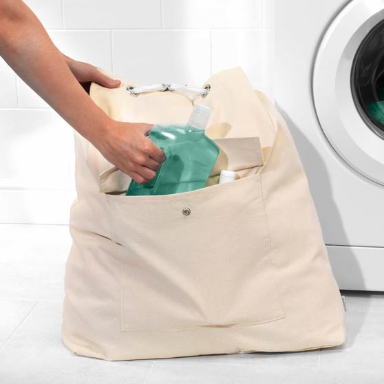 Beldray Oversized Laundry Canvas Backpack, Cotton, Cream Thumbnail 3