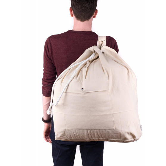 Beldray Oversized Laundry Canvas Backpack, Cotton, Cream Thumbnail 5