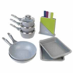 Salter Marble Non-Stick Cookware Collection with Baking Tray and Chopping Boards, 11 Piece Set