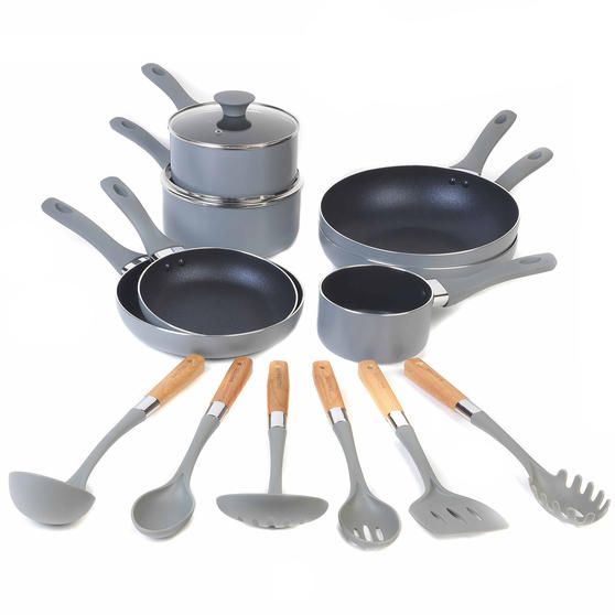 Salter Crystalstone Non-Stick Complete Cookware Collection with Pans and Nylon Utensils, 13 Piece Set