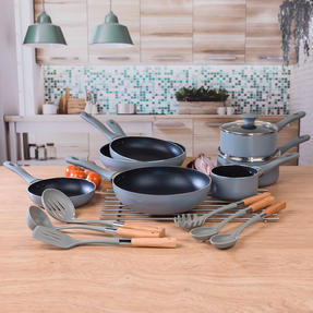 Salter Crystalstone Non-Stick Complete Cookware Collection with Pans and Nylon Utensils, 13 Piece Set Thumbnail 6
