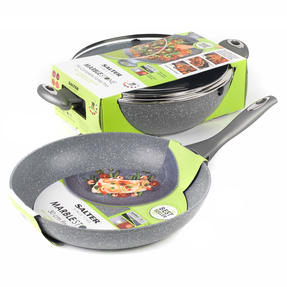 Salter Marble Collection Non-Stick Complete Family Pan and Frying Pan 30 cm, Grey Thumbnail 2