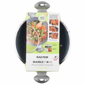 Salter Marble Collection Non-Stick Complete Family Pan and Frying Pan 30 cm, Grey Thumbnail 4