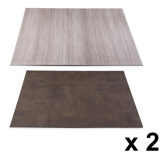 Beldray COMBO-3902 Reversible Laminate Fireplace Back Panel in Slate and Limestone, 93 cm x 93 cm, Set of 2