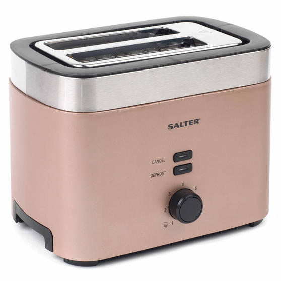 Salter Vega Two-Slice Toaster, 930 W, Metallic Champagne