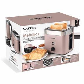 Salter EK3215CHAMPAGNE Vega Two-Slice Toaster, 930 W, Metallic Champagne Thumbnail 11