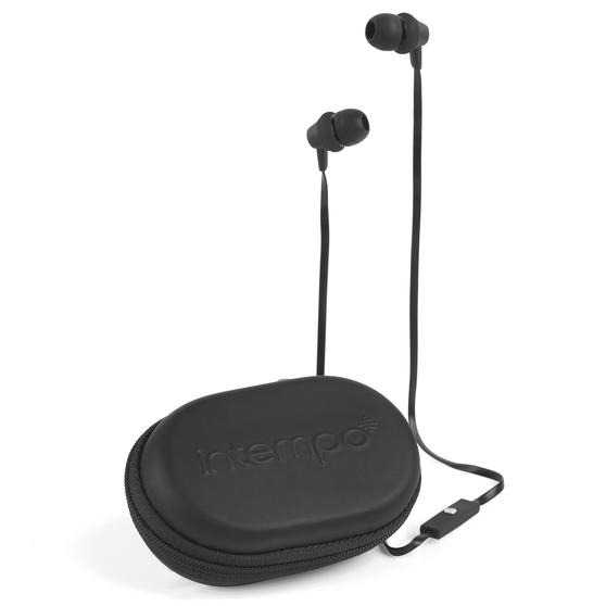 Intempo Travel Earphones with Carry Case, Black