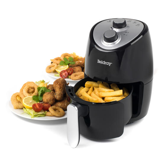 Beldray Compact Hot Air Fryer, 2 L, 1000 W, Black/Silver