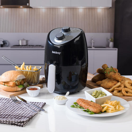 Beldray Compact Hot Air Fryer, 2 L, 1000 W, Black/Silver Thumbnail 6