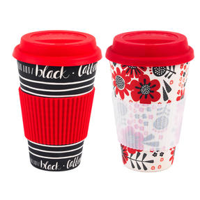 Cambridge COMBO-4027 Coffee is the New Black and Polka Dot Garden Bamboo Eco Travel Mugs, 16oz, Set of 2