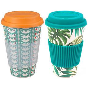 Cambridge COMBO-4028 Polynesia and Retro Daisy Bamboo Eco Travel Mugs, 16oz, Set of 2