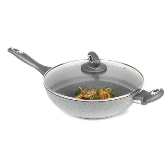 Salter BW02772GN Non-Stick Marblestone Wok with Tempered Glass Lid, Grey, 28 cm