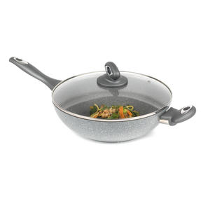 Salter BW02772GN Non-Stick Marblestone Wok with Tempered Glass Lid, Grey, 28 cm Thumbnail 1