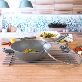 Salter BW02772GN Non-Stick Marblestone Wok with Tempered Glass Lid, Grey, 28 cm Thumbnail 3