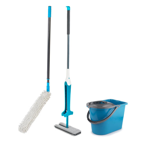 Beldray Double Sided Squeegee Mop with Extendable Duster and 14 Litre Mop Bucket