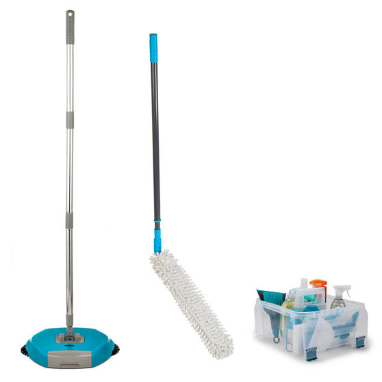 Beldray COMBO-3989 Hard Floor Spinning Sweeper with Extendable Duster and Storage Caddy