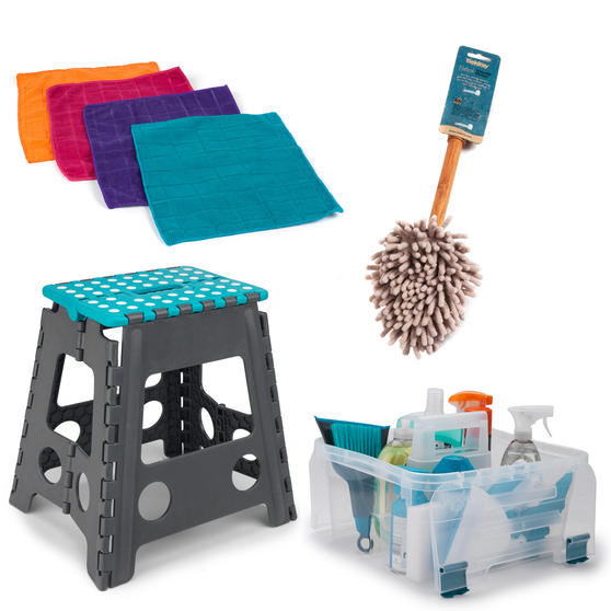 Beldray COMBO-3990 Cleaning Set with Large Step Stool, Caddy, Chenille Duster and Microfibre Cloths