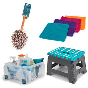 Beldray COMBO-3991 Cleaning Set with Small Step Stool, Caddy, Chenille Duster and Microfibre Cloths