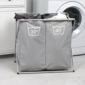 Beldray LA041074GRYEU Double Sorter Laundry Hamper, Grey Thumbnail 4