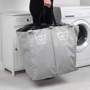 Beldray LA041074GRYEU Double Sorter Laundry Hamper, Grey Thumbnail 5