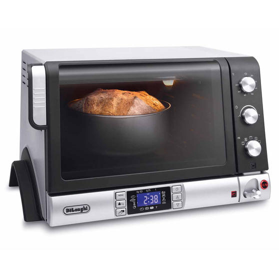 DeLonghi EOB20712 Pangourmet Digital Electric Oven and Bread Maker, 20 L, 1400 W, Silver/Black