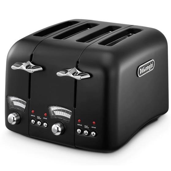 DeLonghi CTO4BK Argento Four Slice Toaster, 1600 W, Stainless Steel, Black