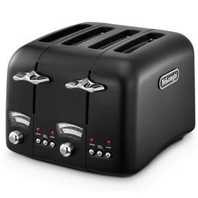 DeLonghi CTO4BK Argento Four Slice Toaster, 1600 W, Stainless Steel, Black Thumbnail 1