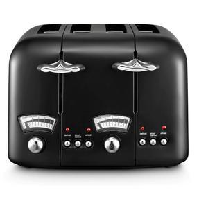 DeLonghi CTO4BK Argento Four Slice Toaster, 1600 W, Stainless Steel, Black Thumbnail 2